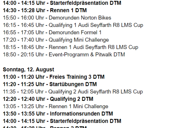 DTM Brands Hatch Zeitplan
